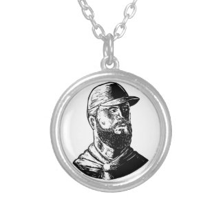 Bearded Chef Scratchboard Silver Plated Necklace