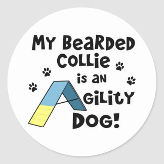 Bearded Collie Agility Dog Classic Round Sticker