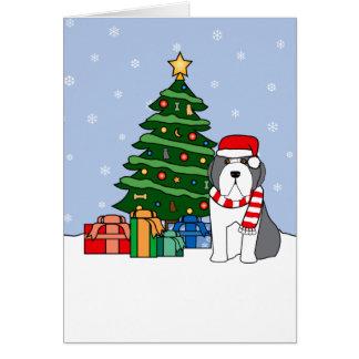 Bearded Collie and Christmas Tree Card