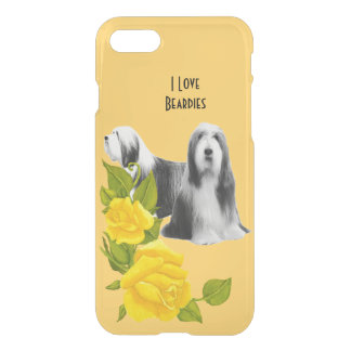 Bearded Collie and Yellow Roses iPhone 7 Case