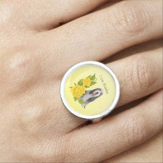 Bearded Collie and Yellow Roses Rings