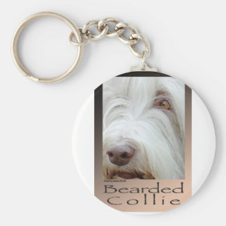 Bearded Collie Basic Round Button Keychain