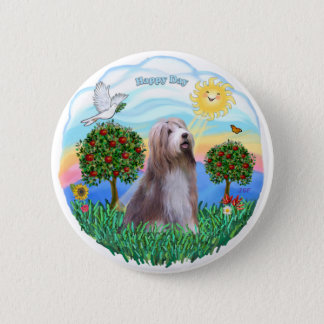 Bearded Collie (brown-white) 2 Inch Round Button