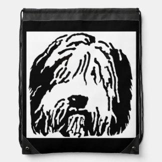 Bearded Collie Cartoon Drawstring Backpack