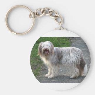 Bearded Collie Dog Basic Round Button Keychain