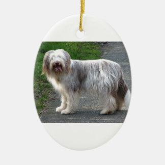 Bearded Collie Dog Ceramic Ornament