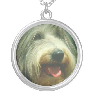 Bearded Collie Dog Face Necklace