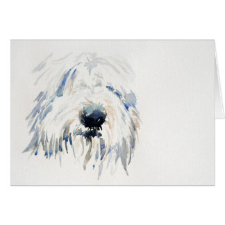 Bearded Collie Dog - Fine Art Greetings Card