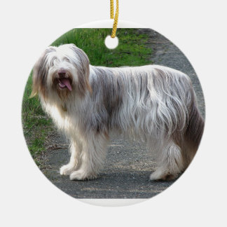 Bearded Collie Dog Round Ceramic Ornament
