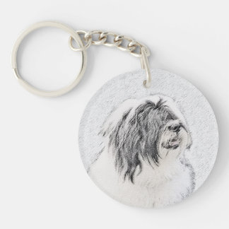 Bearded Collie Double-Sided Round Acrylic Keychain