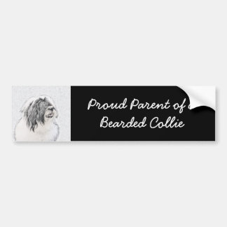 Bearded Collie Drawing - Cute Original Dog Art Bumper Sticker