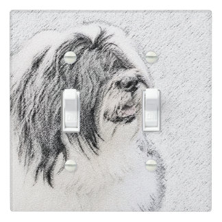 Bearded Collie Drawing - Cute Original Dog Art Light Switch Cover
