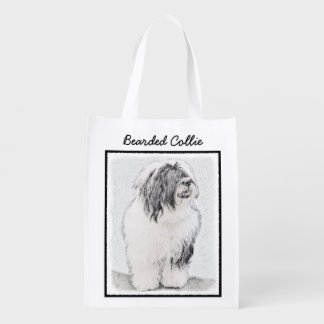 Bearded Collie Drawing - Cute Original Dog Art Reusable Grocery Bag