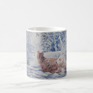 Bearded Collie Fine Art  Winter Scene Mug