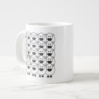 Bearded Collie in the Sheep Large Coffee Mug