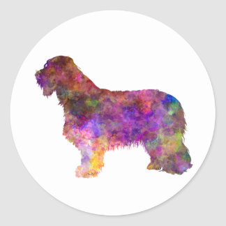 Bearded collie in watercolor classic round sticker
