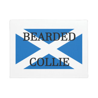 bearded collie name on flag doormat