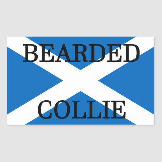 bearded collie name on flag sticker