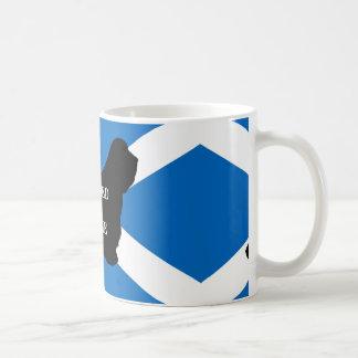 bearded collie name silhouette on flag coffee mug