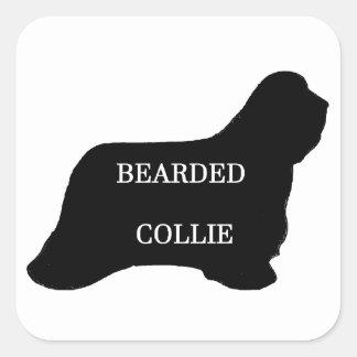 Bearded Collie name silo black Square Sticker