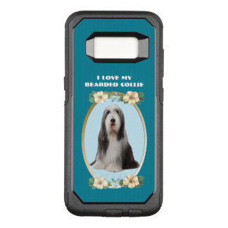 Bearded Collie on Teal Floral OtterBox Commuter Samsung Galaxy S8 Case