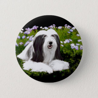 Bearded Collie Painting - Cute Original Dog Art 2 Inch Round Button