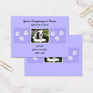 Bearded Collie Painting - Cute Original Dog Art Business Card