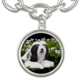 Bearded Collie Painting - Cute Original Dog Art Charm Bracelet