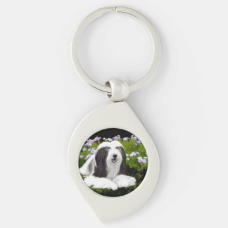 Bearded Collie Painting - Cute Original Dog Art Keychain