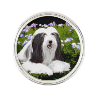 Bearded Collie Painting - Cute Original Dog Art Lapel Pin