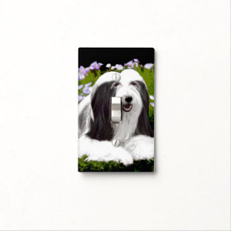 Bearded Collie Painting - Cute Original Dog Art Light Switch Cover