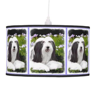 Bearded Collie Painting - Cute Original Dog Art Pendant Lamp
