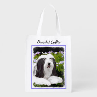 Bearded Collie Painting - Cute Original Dog Art Reusable Grocery Bag