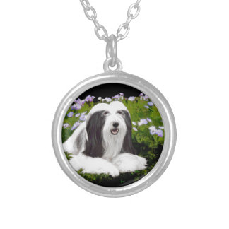 Bearded Collie Painting - Cute Original Dog Art Silver Plated Necklace
