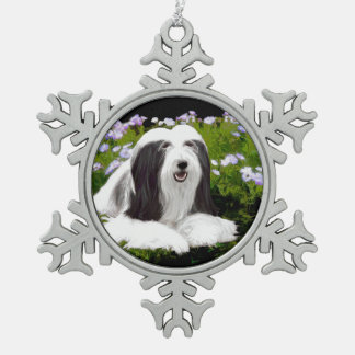 Bearded Collie Painting - Cute Original Dog Art Snowflake Pewter Christmas Ornament
