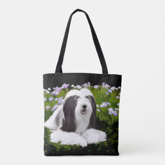 Bearded Collie Painting - Cute Original Dog Art Tote Bag