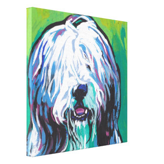 Bearded Collie Pop Dog Art on Wrapped Canvas