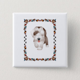 Bearded Collie Puppy 2 Inch Square Button