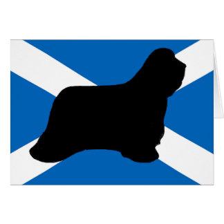 bearded collie silhouette Scotland flag Card