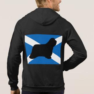bearded collie silhouette Scotland flag Hoodie