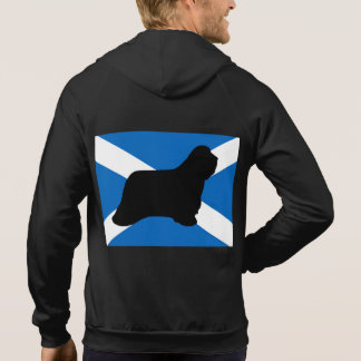 bearded collie silhouette Scotland flag Hoodie