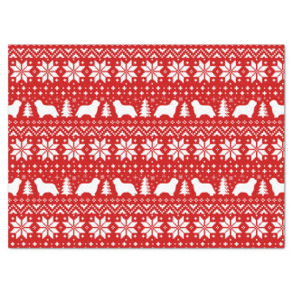 Bearded Collie Silhouettes Christmas Pattern Red Tissue Paper
