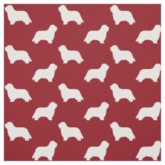 Bearded Collie Silhouettes Pattern Red Fabric