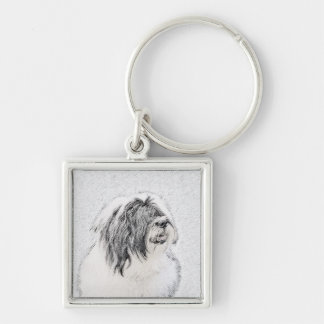 Bearded Collie Silver-Colored Square Keychain