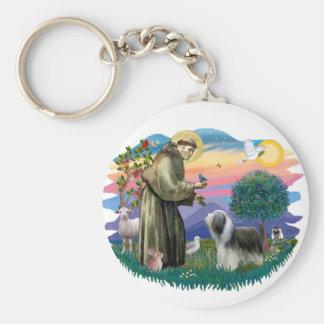 Bearded Collie (slate-white) Basic Round Button Keychain