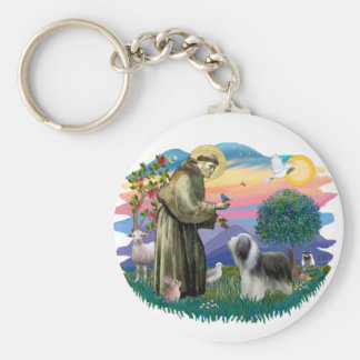 Bearded Collie (slate-white) Keychain