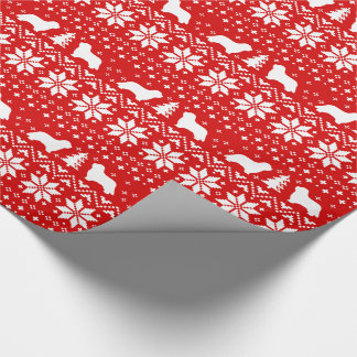 Bearded Collies Christmas Sweater Pattern Red Wrapping Paper