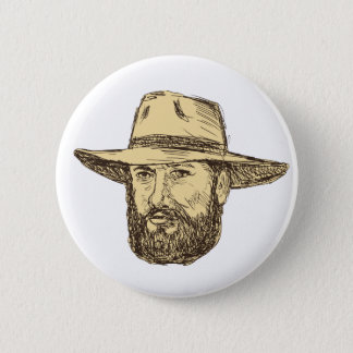 Bearded Cowboy Head Drawing 2 Inch Round Button