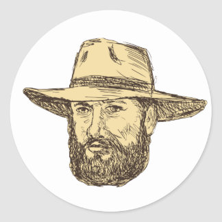 Bearded Cowboy Head Drawing Classic Round Sticker