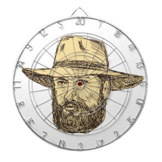Bearded Cowboy Head Drawing Dartboard
